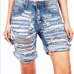 Pants - Distressed Bermuda shorts, women shorts